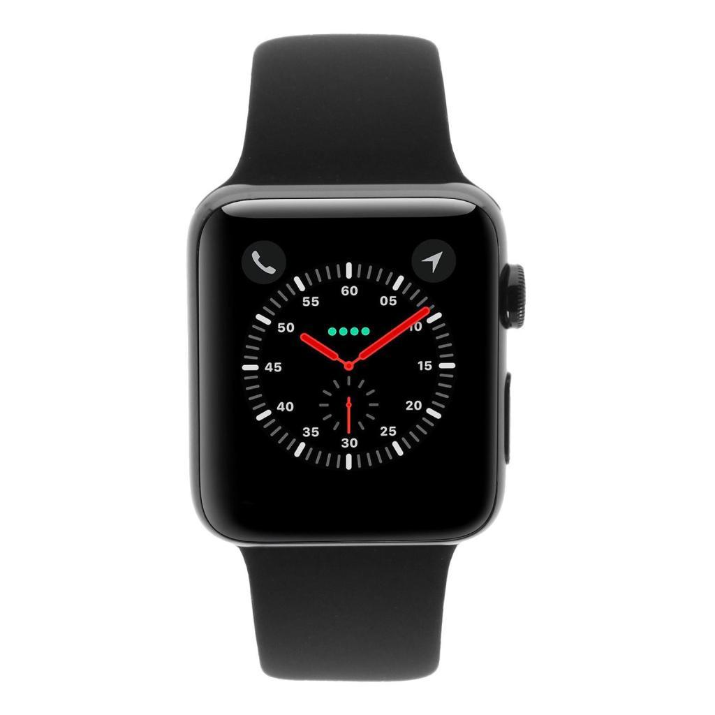 Apple Watch Series 3 Edelstahlgehäuse schwarz 42mm mit Sportarmband schwarz (GPS + Cellular) edehlstahl schwarz - neu
