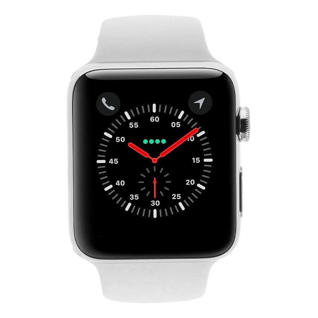 Apple Watch Series 3 Edelstahlgehäuse 42mm silber mit Sportarmband weiss (GPS + Cellular) edelstahl silber - neu