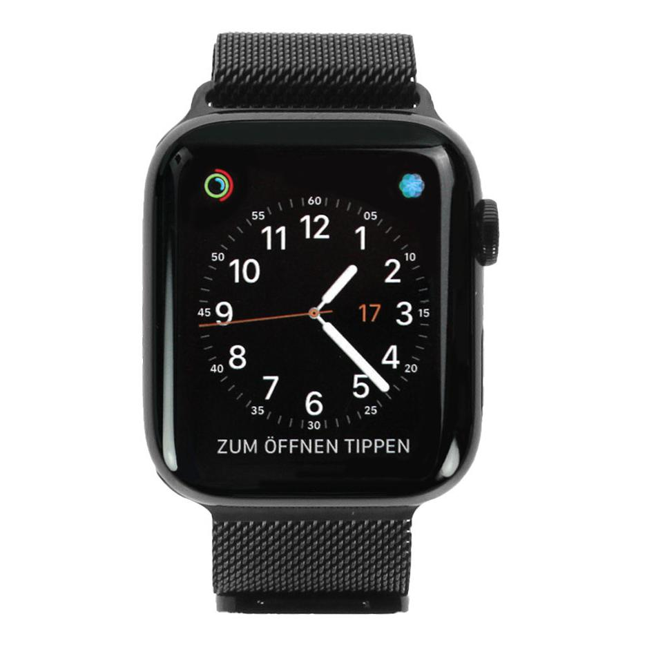 Apple Watch Series 4 - caja de acero inoxidable en negro 44mm - pulsera Milanese negra (GPS+Cellular) - buen estado