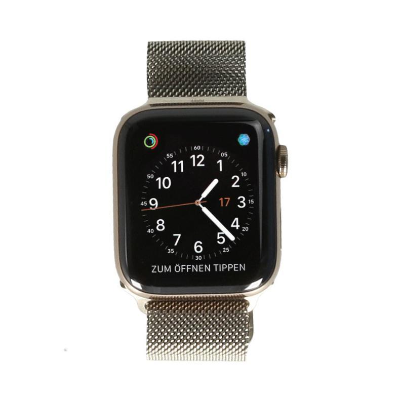 Apple Watch Series 4 - boîtier en acier inoxydable or 44mm - bracelet milanais en or (GPS+Cellular) - Neuf