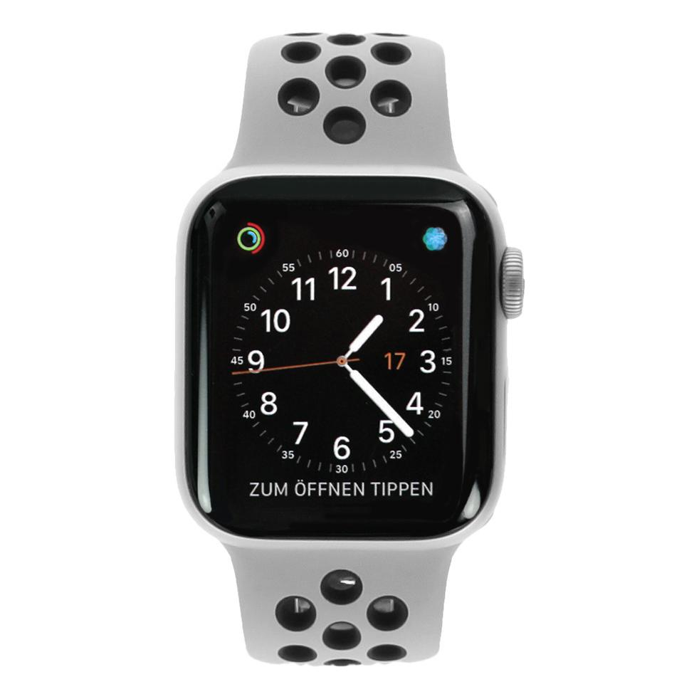 Apple Watch Series 4 Nike+ Aluminiumgehäuse silber 40mm mit Sportarmband platinum/schwarz (GPS+Cellular) aluminium silber - neu