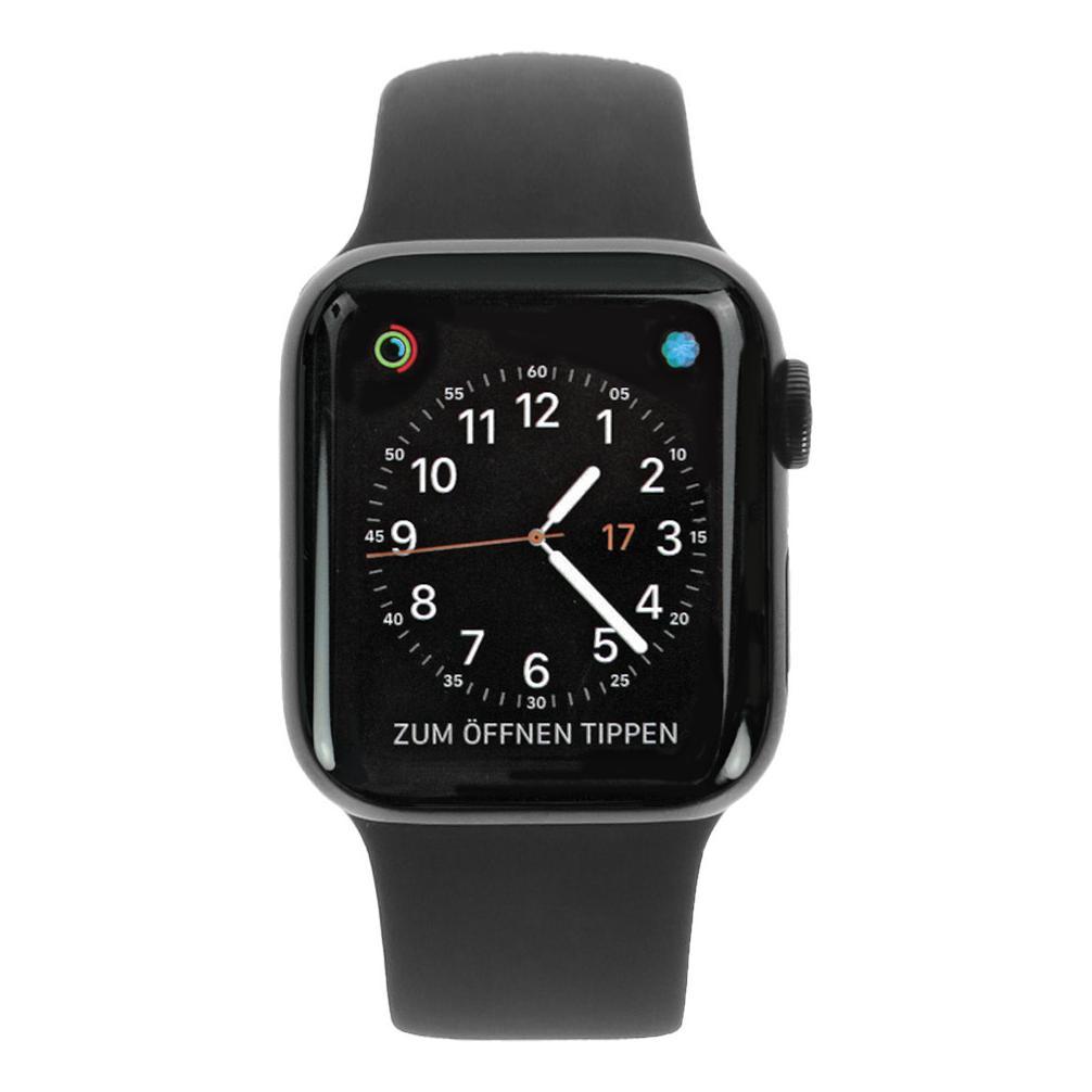 Apple Watch Series 4 Edelstahlgehäuse schwarz 40mm mit Sportarmband schwarz (GPS+Cellular) Edelstahl space schwarz - neu