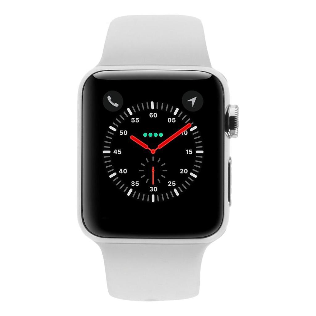 Apple Watch Series 3 Edelstahlgehäuse 38mm silber mit Sportarmband weiss (GPS + Cellular) edelstahl silber - neu
