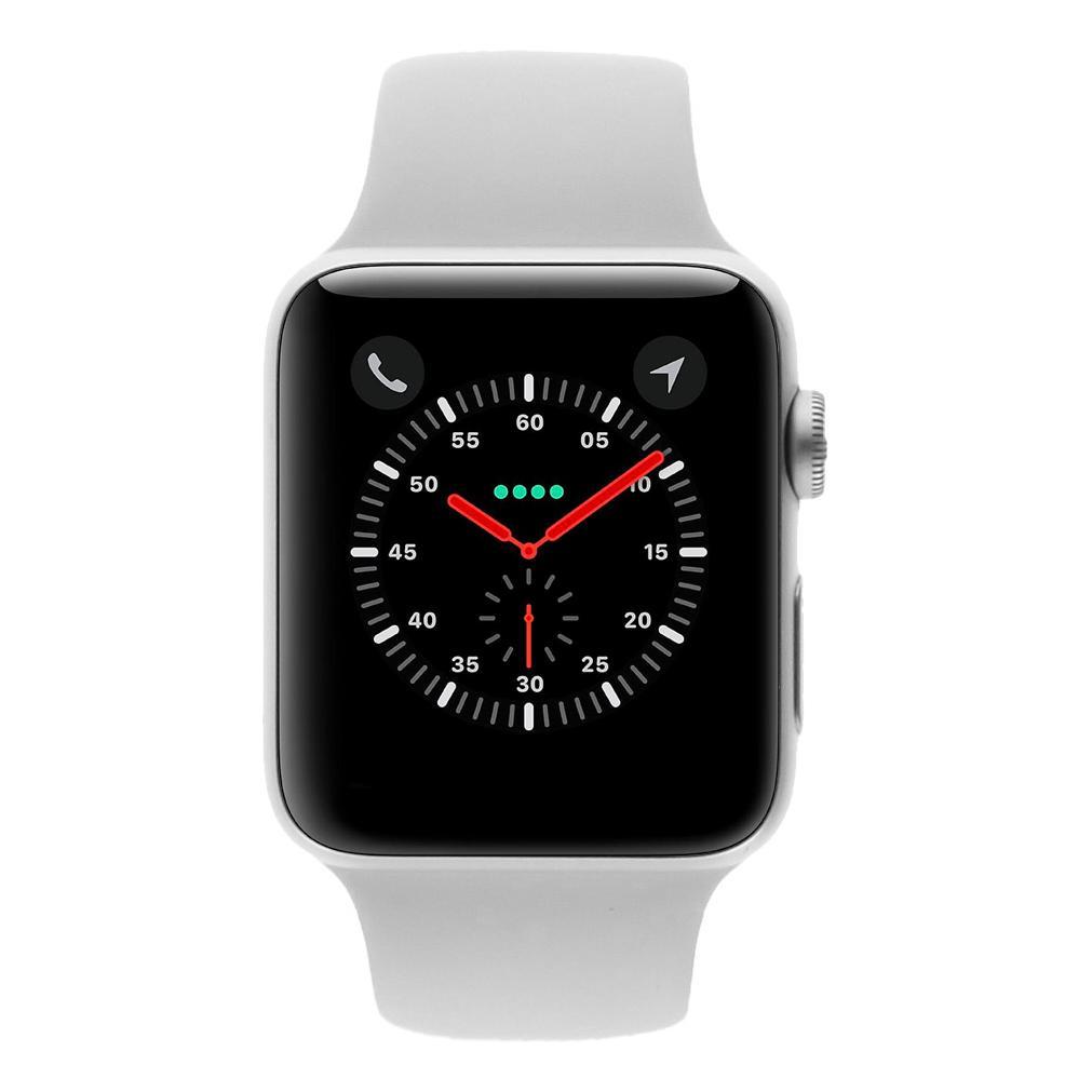 Apple Watch Series 3 - boîtier en aluminium argent 42mm - bracelet Sport blanc (GPS+Cellular) - Neuf