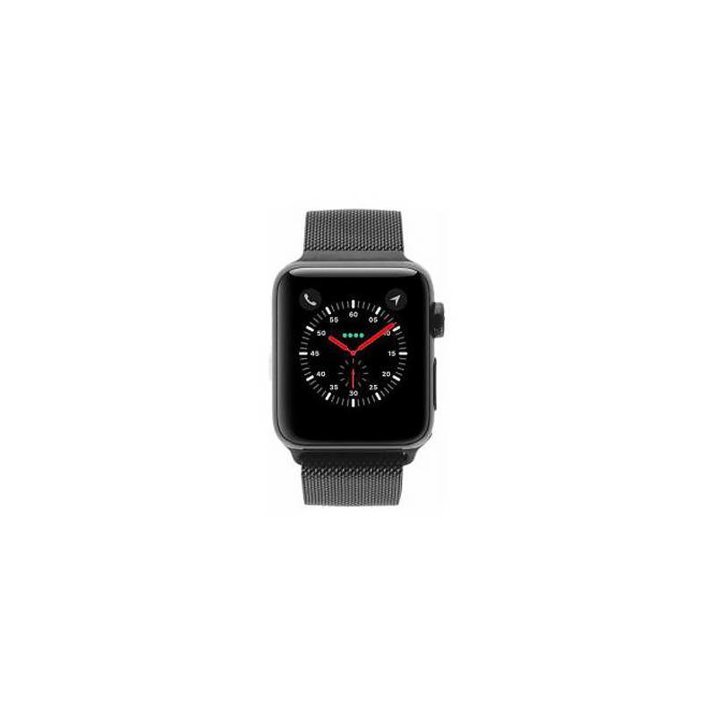 Apple Watch Series 3 - boîtier en acier inoxydable noir 38mm - bracelet milanais noir (GPS+Cellular) - Neuf