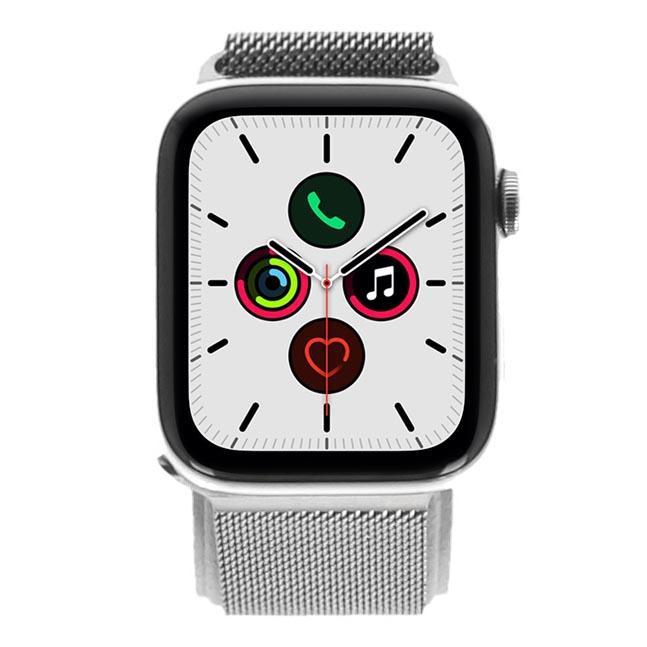 Apple Watch Series 5 Edelstahlgehäuse silber 44mm mit Milanaise Armband silber (GPS Cellular) silber