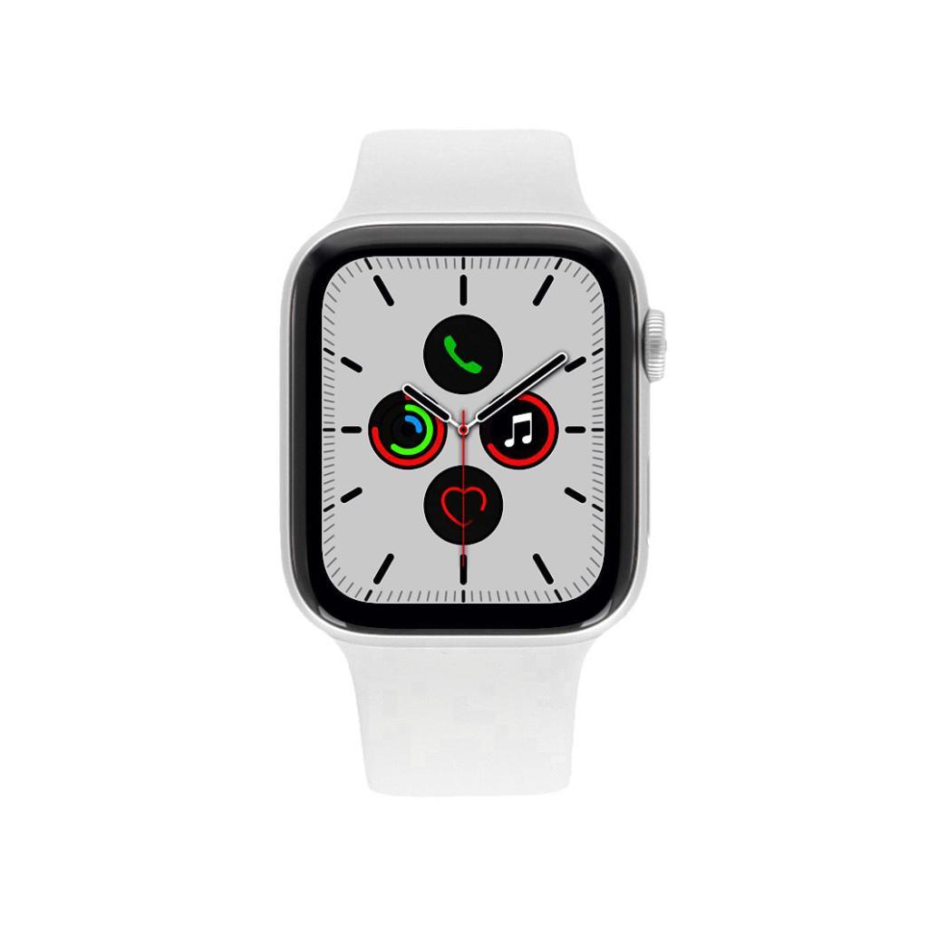 Apple Watch Series 5 - boîtier en aluminium en argent 44mm - bracelet Sport blanc (GPS) - Neuf