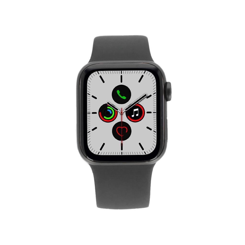 Apple Watch Series 5 Aluminiumgehäuse grau 40mm mit Sportarmband schwarz (GPS+Cellular) - neu