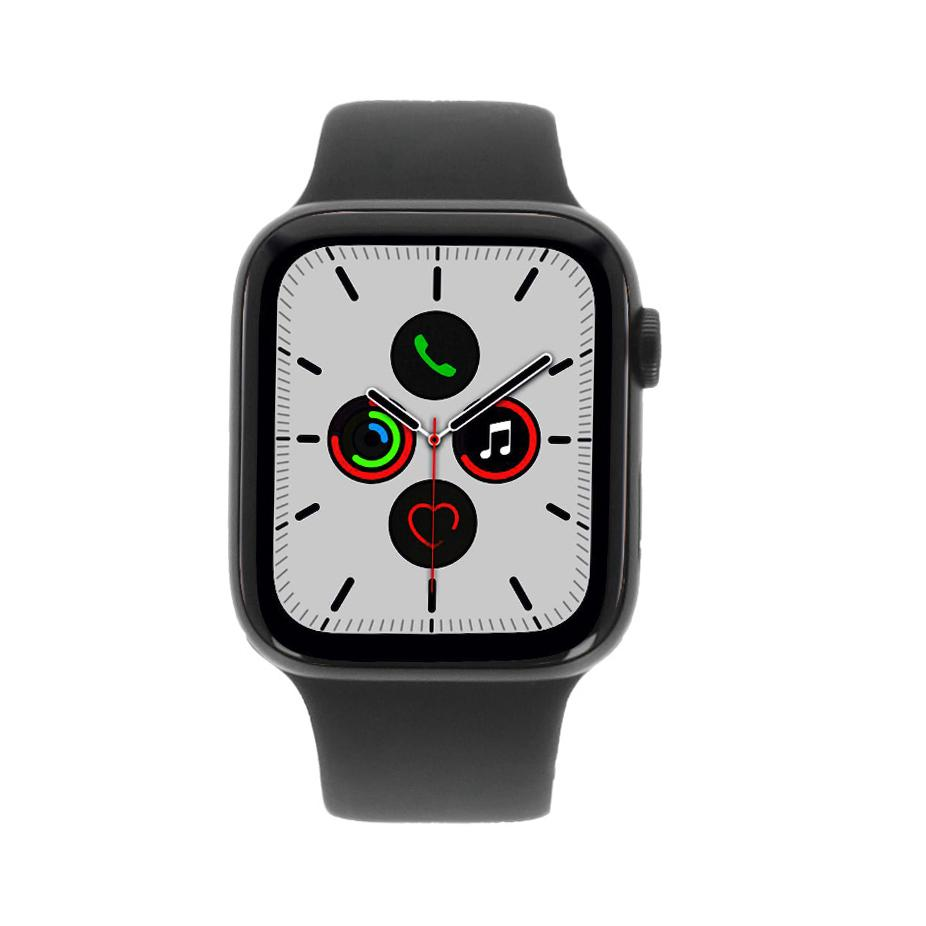 Apple Watch Series 5 - caja de aluminio en gris 44mm - correa sport negra (GPS+Cellular) - muy bueno