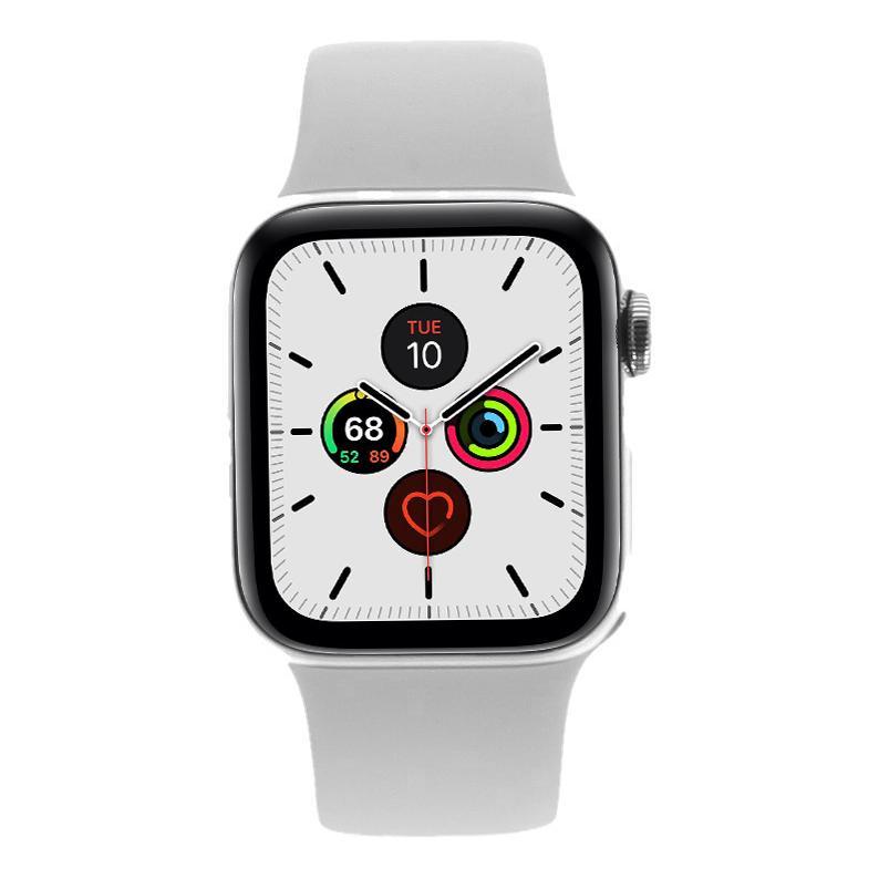 Apple Watch Series 5 Edelstahlgehäuse silber 40mm mit Sportarmband weiß (GPS + Cellular) silber - neu