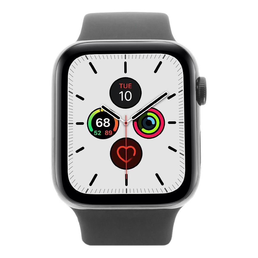 Apple Watch Series 5 - boîtier en acier inoxydable en noir 44mm - bracelet sport noir (GPS+Cellular) - Neuf