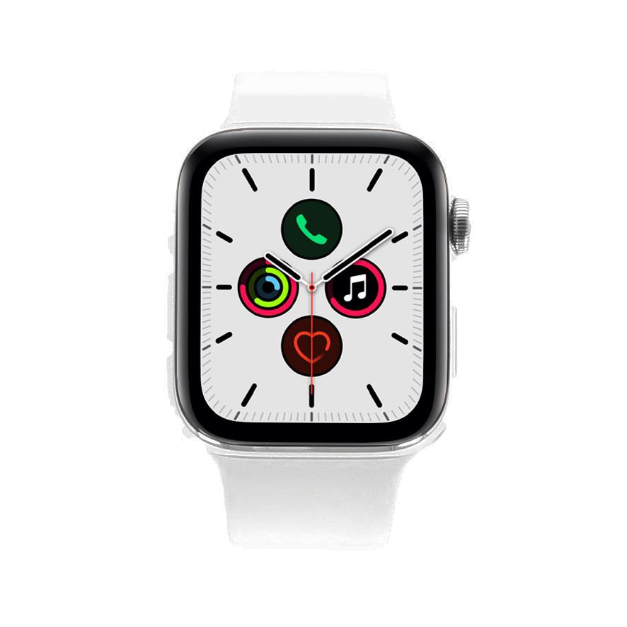 Apple Watch Series 5 Edelstahlgehäuse silber 44mm mit Sportarmband weiß (GPS + Cellular) weiß - neu