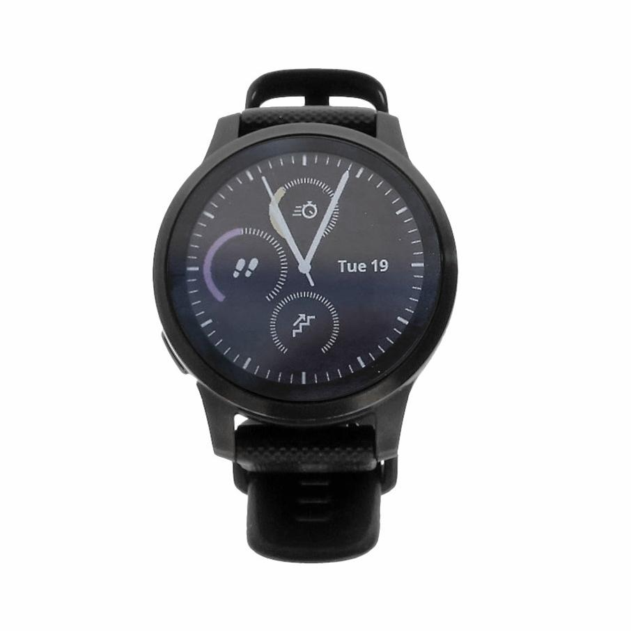 Garmin Vivoactive 4S - boîtier en acier inoxydable noir 44mm - bracelet en silicone noir - Neuf