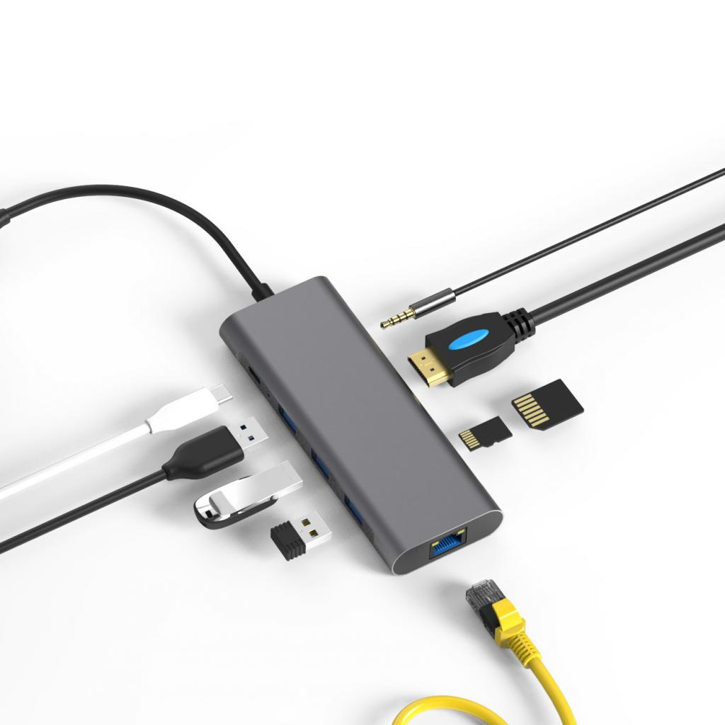 USB-C Hub 9 in 1 -ID17272 grau - gut