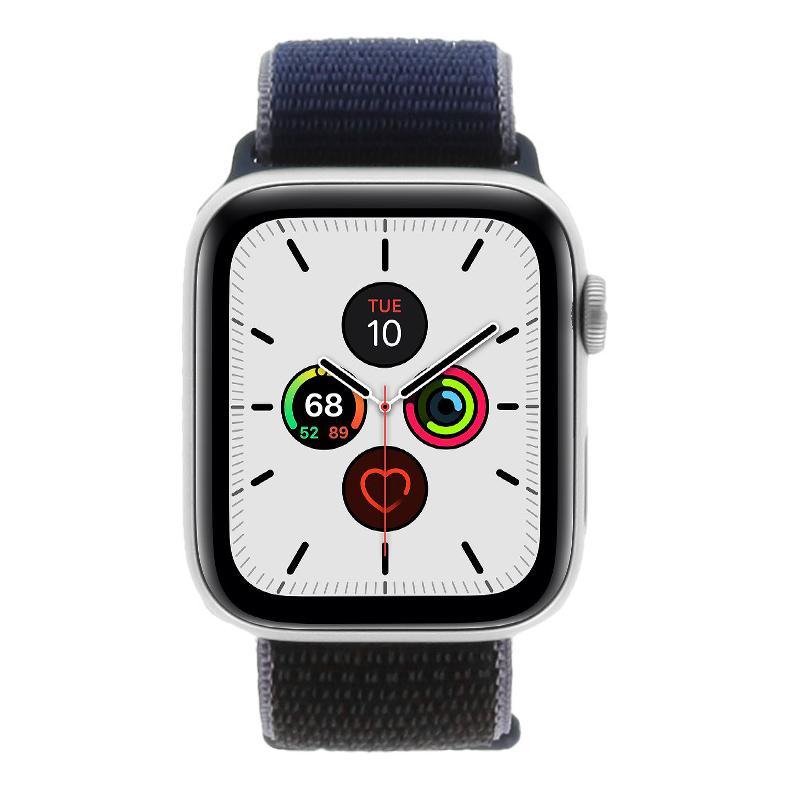 Apple Watch Series 5 - caja de aluminio de plata 44mm- correa deportiva Loop azul oscuro (GPS) - nuevo