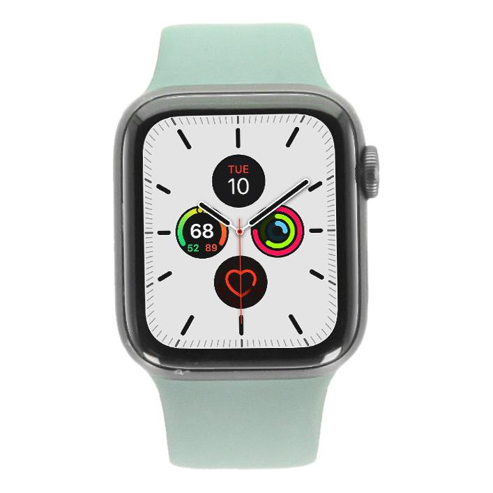Apple Watch Series 5 Aluminiumgehäuse grau 40mm mit Sportarmband piniengrün (GPS) grau - neu