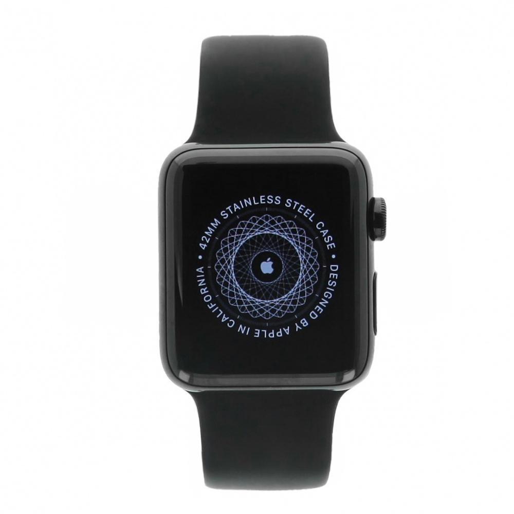 Apple Watch Series 2 Edelstahlgehäuse schwarz 42mm mit Sportarmband schwarz Edelstahl Spaceschwarz - neu