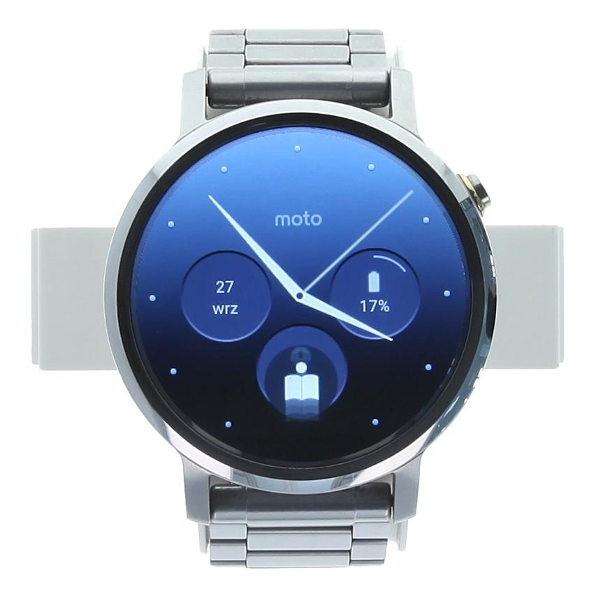 Motorola Moto 360 (2nd Gen) 46mm acero inoxidable con metal pulsera plateado - buen estado