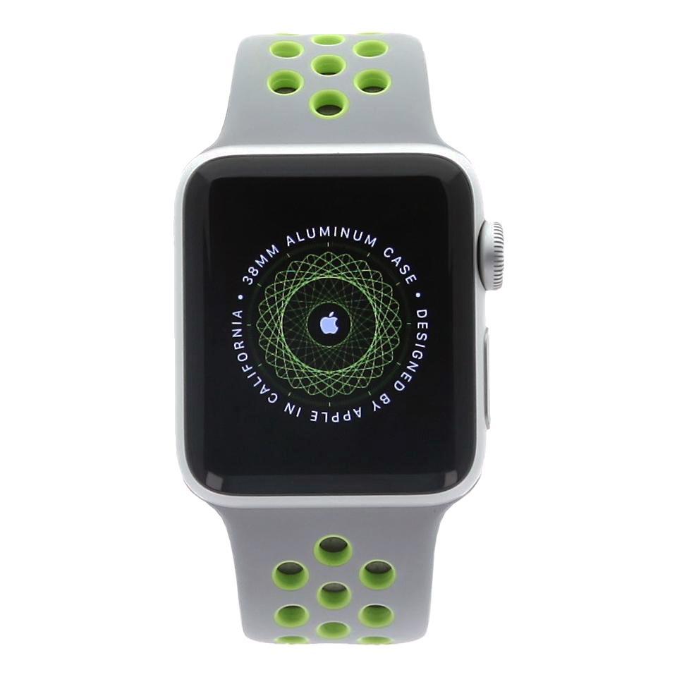 Apple Watch Series 2 Aluminiumgehäuse silber 38mm mit Nike+ Sportarmband silber/volt aluminium silber - neu