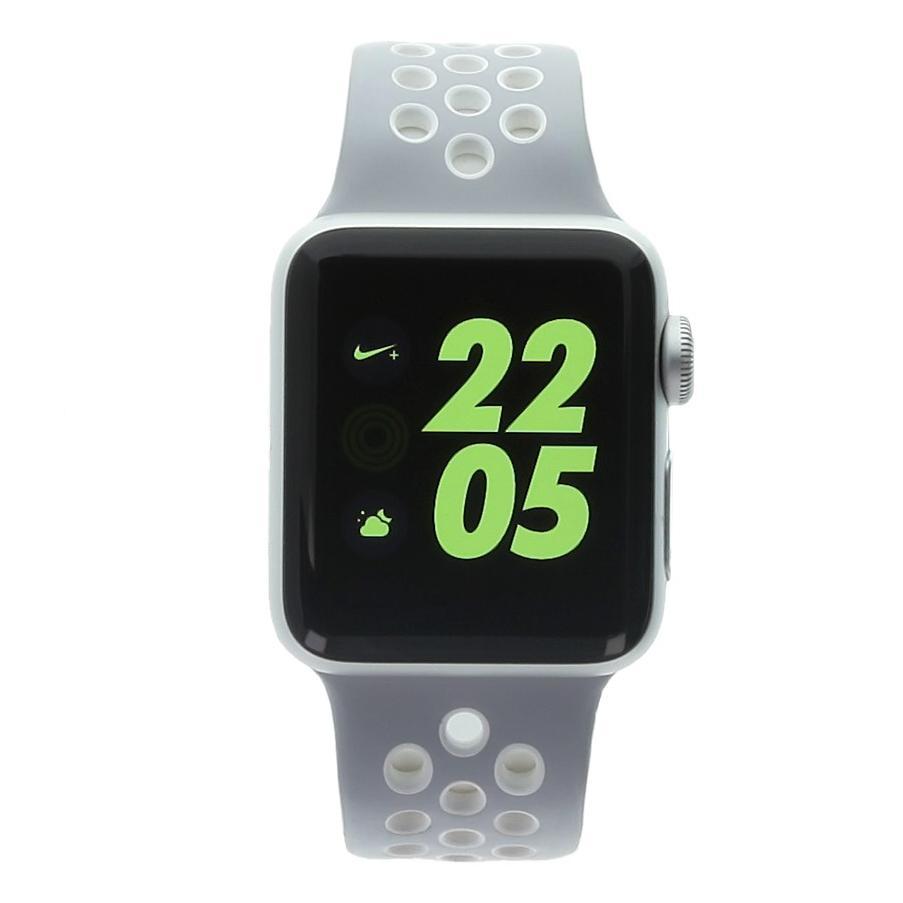 Apple Watch Series 2 Aluminiumgehäuse silber 38mm mit Nike Sportarmband platin weiss Aluminium Silber