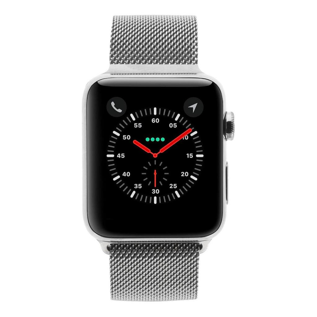 Apple Watch Series 3 Edelstahlgehäuse silber 42mm mit Milanaise-Armband silber (GPS + Cellular) edelstahl silber - neu