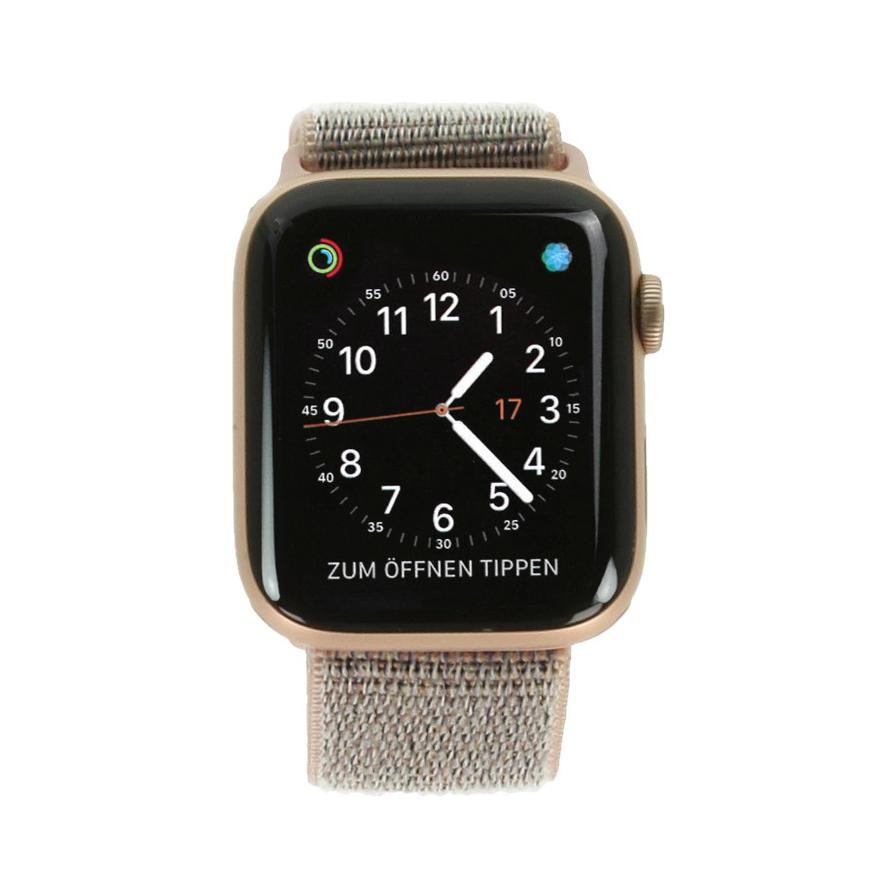 Apple Watch Series 4 Aluminiumgehäuse gold 44mm mit Sport Loop sandrosa (GPS) aluminium gold