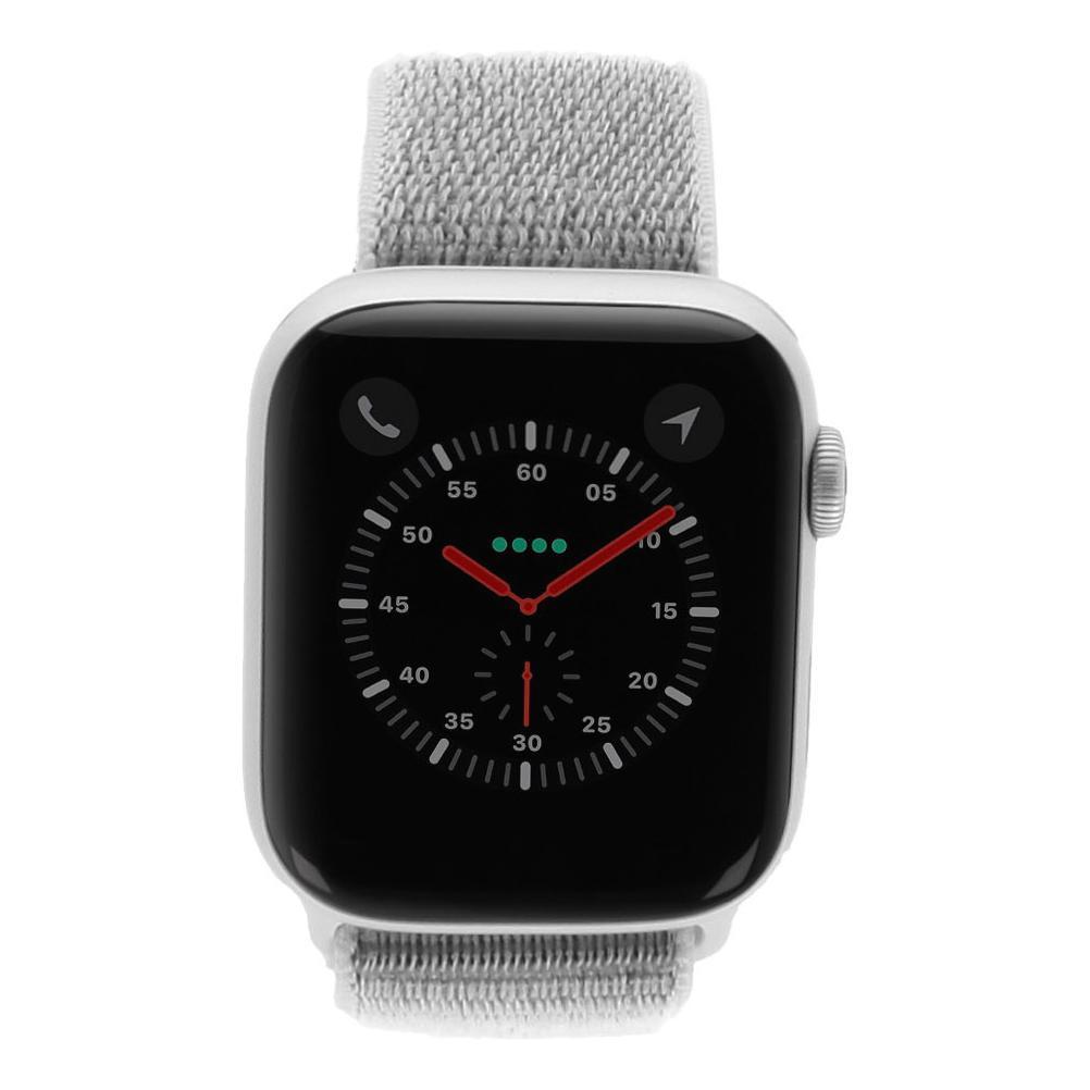 Apple Watch Series 4 Nike+ Aluminiumgehäuse silber 44mm mit Sport Loop weiss (GPS + Cellular) aluminium silber - neu