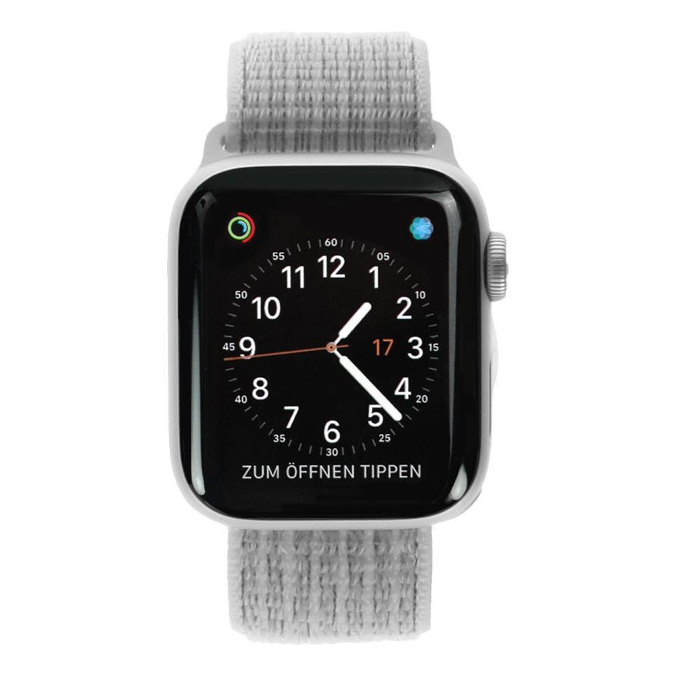 Apple Watch Series 4 Nike+ Aluminiumgehäuse silber 40mm mit Sport Loop muschelgrau (GPS+Cellular) aluminium silber - neu