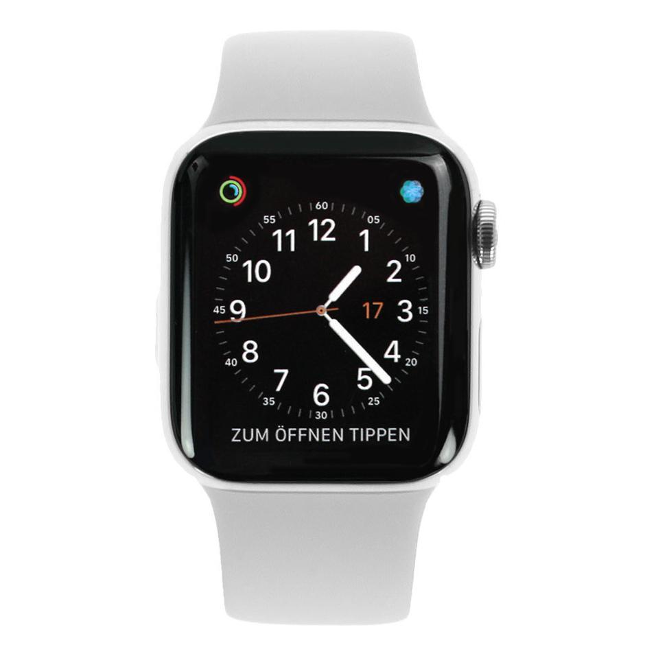 Apple Watch Series 4 Edelstahlgehäuse silber 40mm mit Sportarmband weiss (GPS+Cellular) edelstahl silber - neu