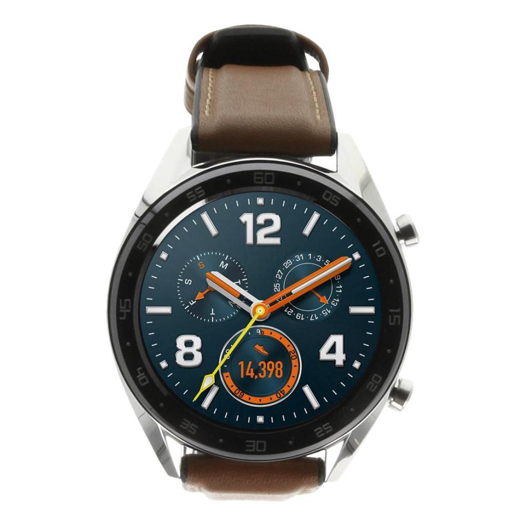 Huawei Watch GT - boîtier en argent - bracelet en cuir marron - argent - Neuf