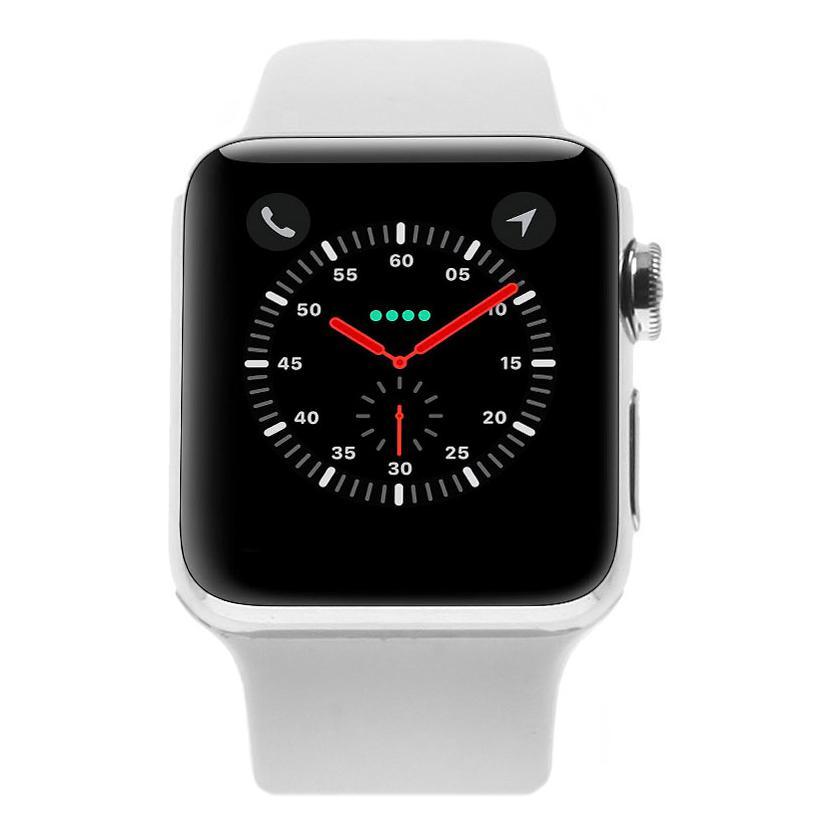 Apple Watch Series 2 Edelstahlgehäuse silber 38mm mit Sportarmband weiss edelstahl silber - neu