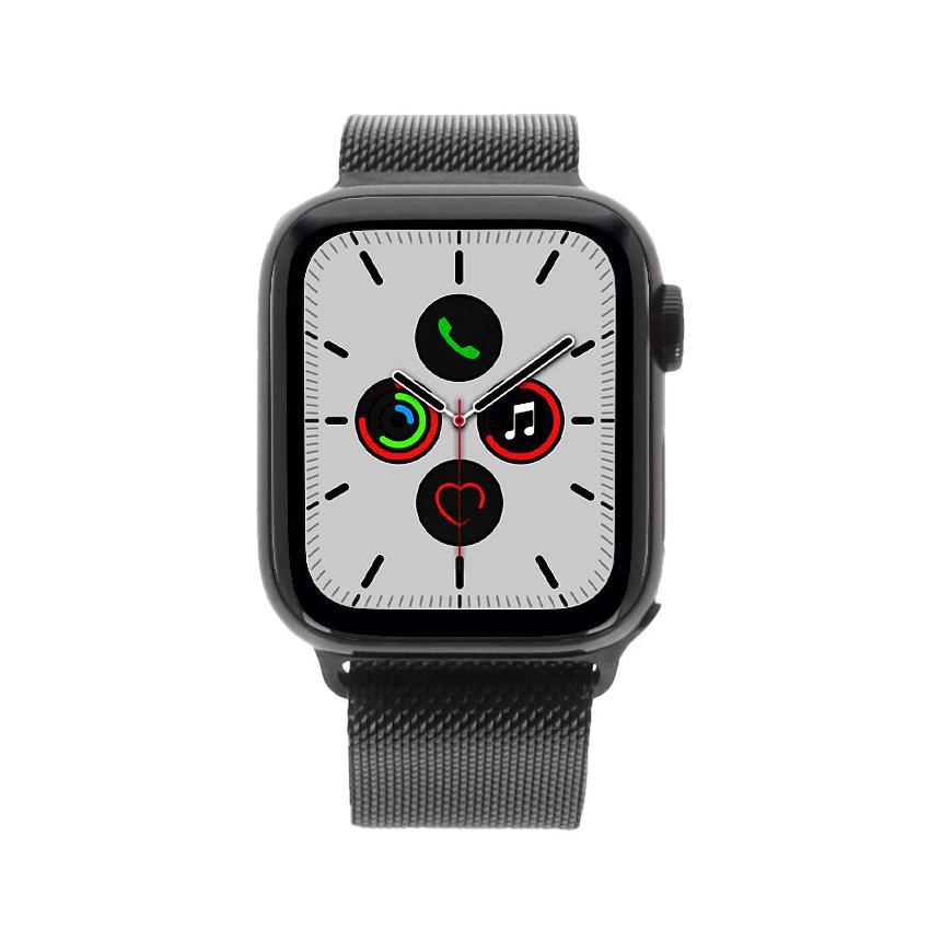 Apple Watch Series 5 Edelstahlgehäuse schwarz 40mm mit Milanaise-Armband spaceschwarz (GPS + Cellular) schwarz - neu