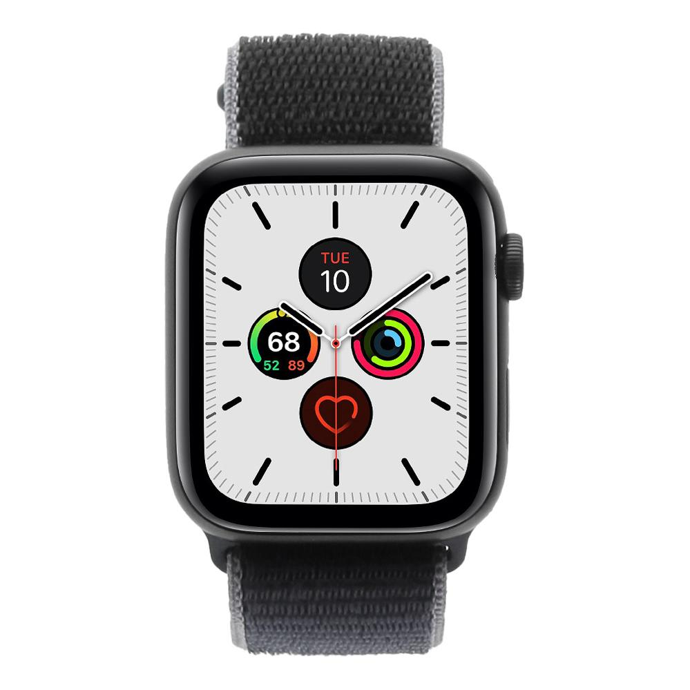 Apple Watch Series 5 - boîtier en aluminium gris 44mm - boucle sport bleue (GPS+Cellular) - Bon