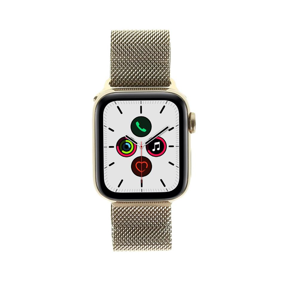 Apple Watch Series 5 - boîtier en acier inoxydable or 40mm - bracelet milanais en or (GPS+Cellular) - Neuf
