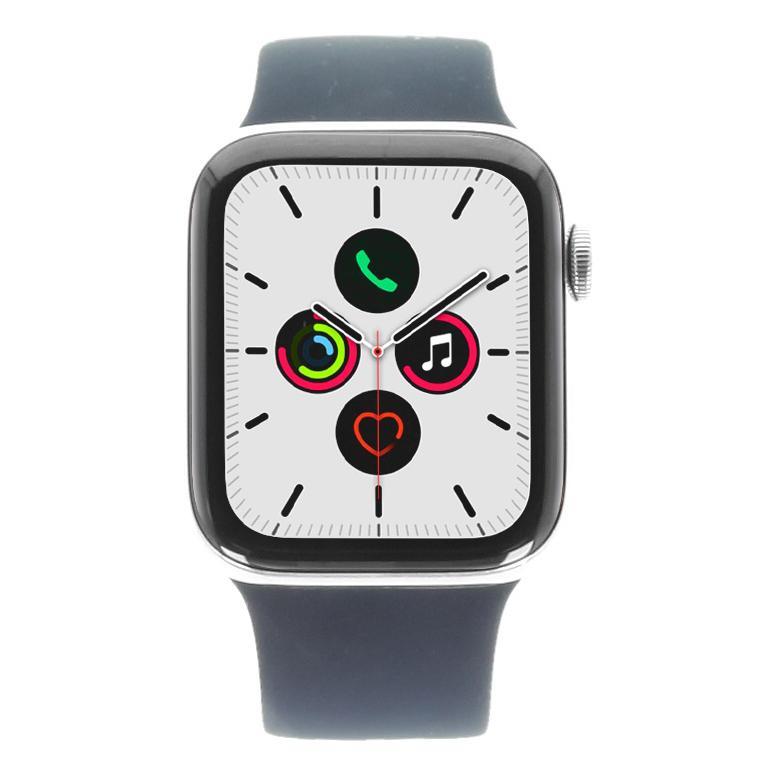 Apple Watch Series 5 Edelstahlgehäuse silber 44mm mit Sport Loop alaska blau (GPS + Cellular)  silber - neu