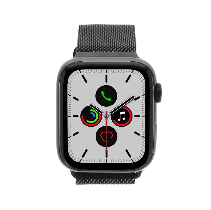 Apple Watch Series 5 Edelstahlgehäuse schwarz 44mm mit Milanaise-Armband silber (GPS + Cellular) edelstahl schwarz - neu