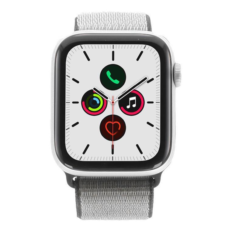 Apple Watch Series 5 Aluminiumgehäuse silber 44mm mit Sport Loop eisengrau (GPS) silber - neu