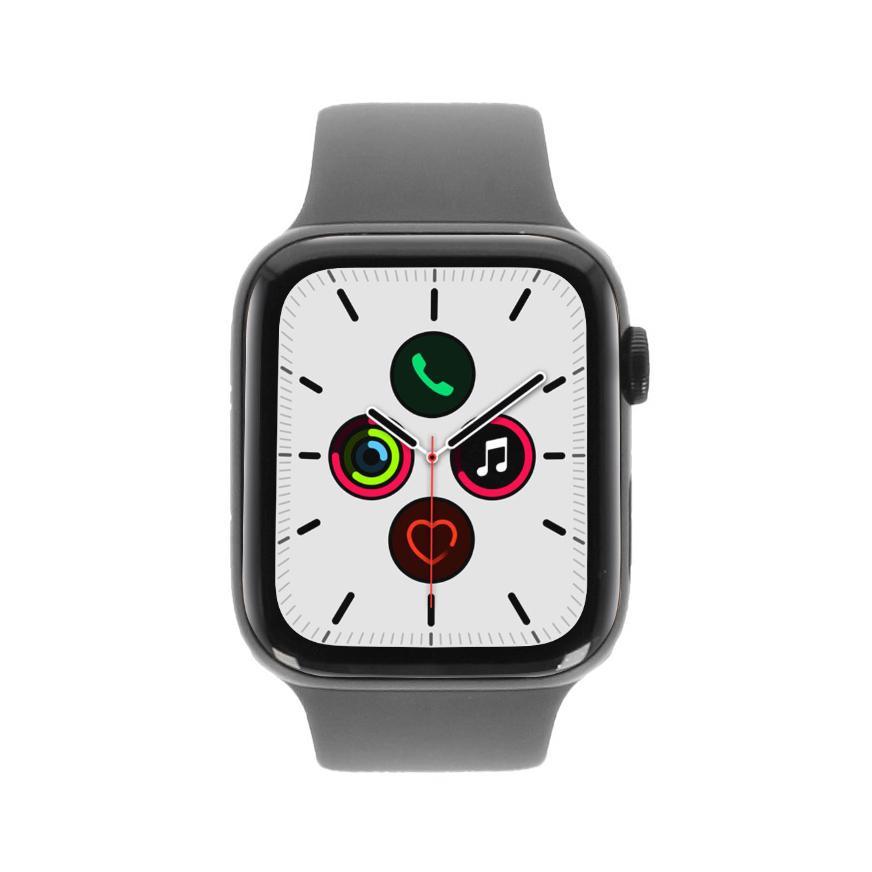 Apple Watch Series 5 Edelstahlgehäuse schwarz 44mm mit Sportarmband piniengrün (GPS + Cellular) schwarz - neu