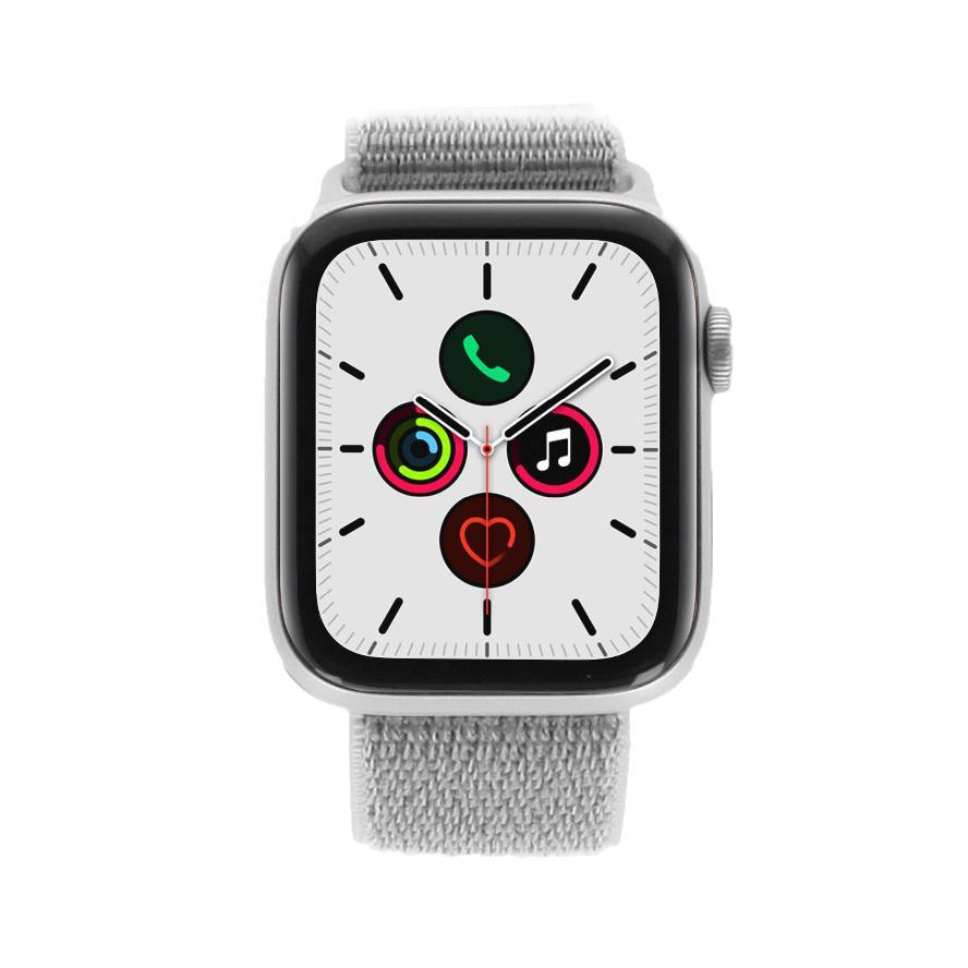 Apple Watch Series 5 Aluminiumgehäuse silber 44mm mit Sport Loop eisengrau (GPS + Cellular) silber - neu