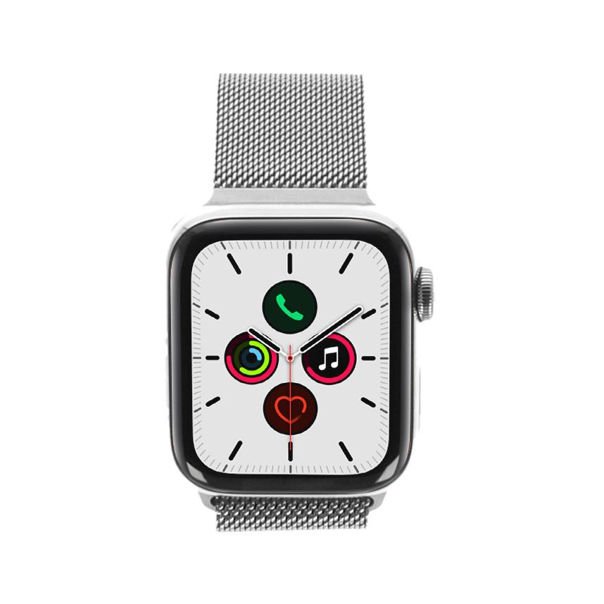 Apple Watch Series 5 Edelstahlgehäuse silber 40mm mit Milaniase-Armband silber (GPS + Cellular) silber - neu