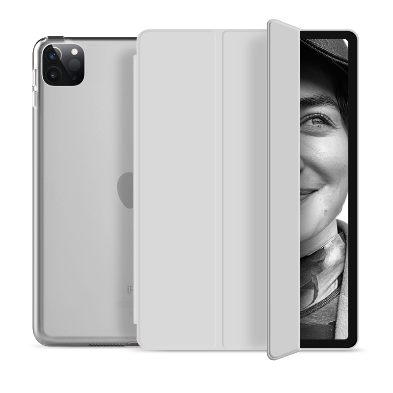 "Flip Cover für Apple iPad Pro 2020 12,9"" -ID17983 grau/durchsichtig - neu"