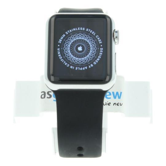 Apple Watch 38mm mit Sportarmband schwarz Edelstahl Silber gut