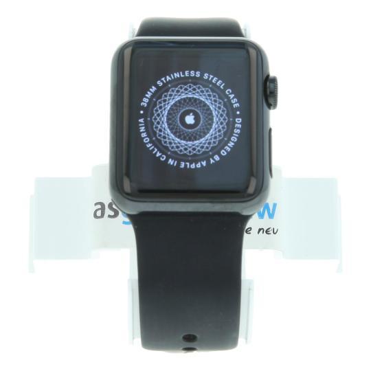 Apple Watch 38mm avec Bracelet sport noir Acier inoxydable Noir sidéral Bon