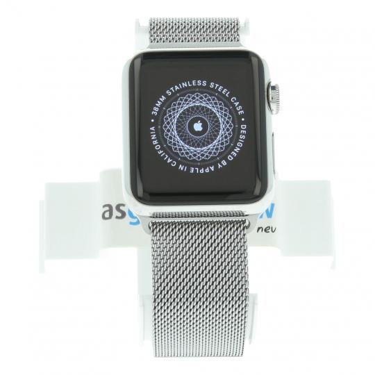 Apple Watch (Gen. 1) 38mm Edelstahlgehäuse Silber mit Milanaise-Armband Silber Edelstahl Silber gut