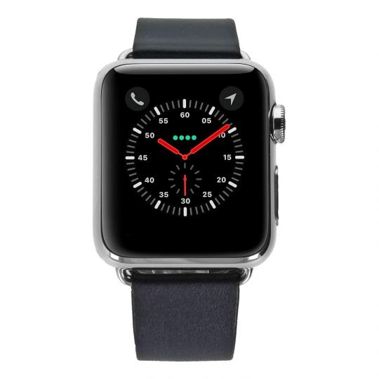 Apple Watch 38mm mit modernem Lederarmband blau Edelstahl Silber gut