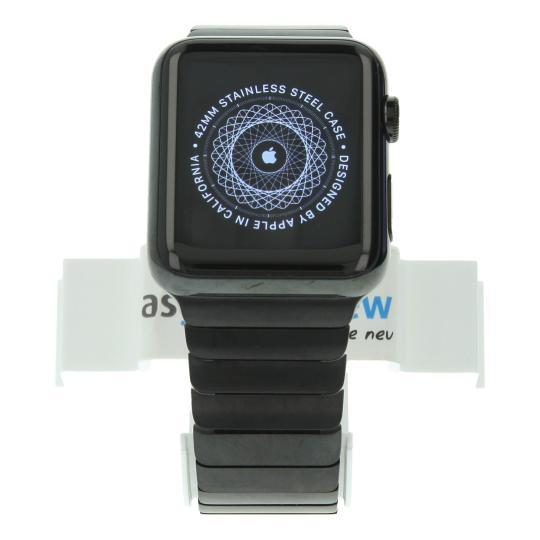 Apple Watch 42mm mit Gliederarmband schwarz Edelstahl Spaceschwarz gut