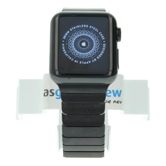 Apple Watch (Gen. 1) 38mm Edelstahlgehäuse Spaceschwarz mit Gliederarmband Schwarz Edelstahl Spaceschwarz gut
