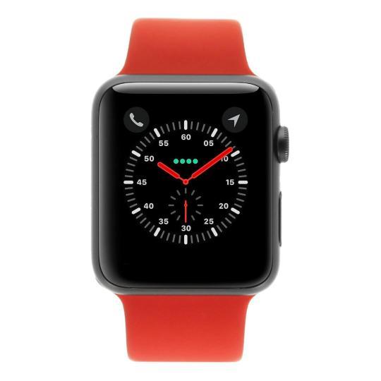 Apple Watch Sport 42mm avec Bracelet sport rouge aluminium gris sidéral Bon