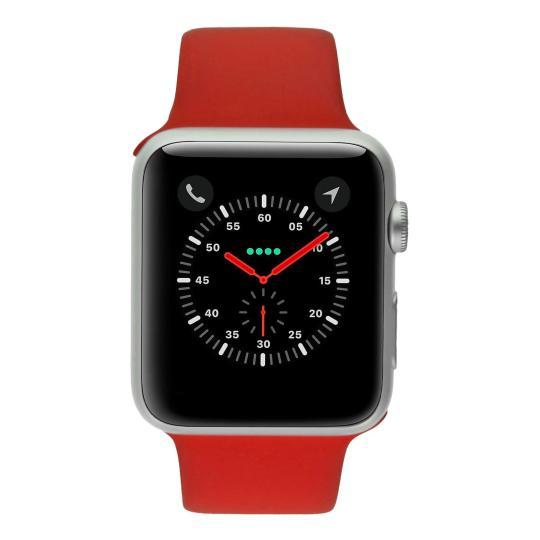 Apple Watch Sport 42mm mit Sportarmband rot Aluminium Silber gut