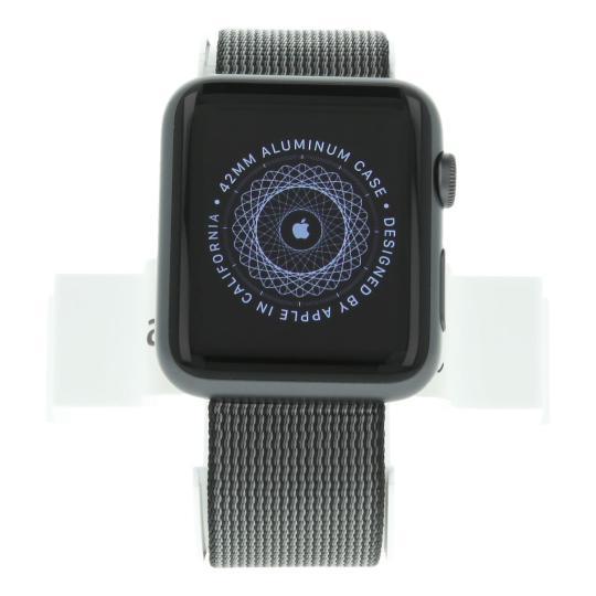Apple Watch Sport (Gen. 1) 42mm boitier en aluminiumgris sidéral avec un bracelet en nylon tissé noir argent gris sidéral Comme neuf
